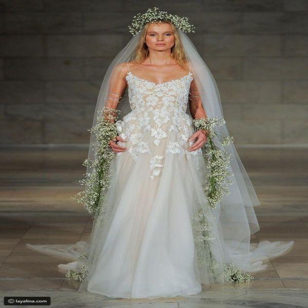 فساتين زفاف ريم عكرا لخريف 2018 مزينة بالورود البرية